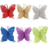 6pcs Luxury Christmas Tree Glitter 3D Butterfly / Butterflies Decorations WQZY