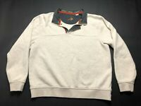 Orvis Mens White Long Sleeve 1/4 Zip Sweater Size Large