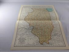 Vintage 1934 Rand McNally Map of Illinois ~ Color ~ Ships FREE!