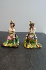 + Paire de figurines, statuettes en porcelaine polychrome 19è - écossais? +
