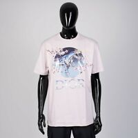 DIOR x SORAYAMA 550$ Dinosaur & Logo Print Tshirt In Pink Cotton Jersey
