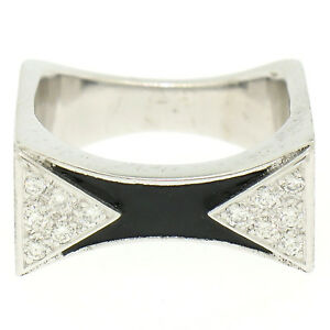 14K White Gold 0.30ctw Diamond & Black Enamel Stone Finished Squared Band Ring