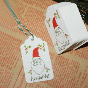 50Pcs Christmas Paper Hang Tags Party Favor Labels Price Xmas Gift Card Supplies