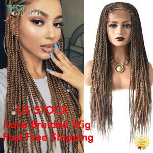 Box Braided Wig Swiss Lace Front Cornrow Kanekalon Fiber Micro Twist Baby Hair