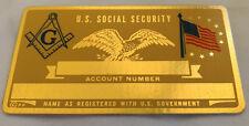 Freemason US Social Security Metal Card Tag NOS VTG Perma Products