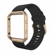 For Fitbit Blaze Band, Simpeak Silicone Replacement Band Black w/Rose Gold Frame