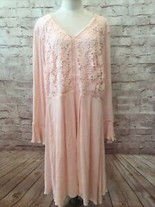 CATO Womens Pastel Peach Shift Dress Long Bell Sleeve Lace Front Size 22W NEW