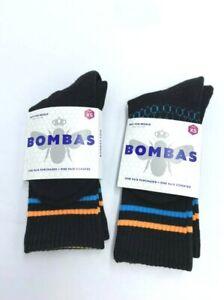 NWT Bombas Toddler Youth XS Black Orange Blue Stripe 2 Pair Crew Socks