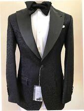 Black floral print super 150 Cerruti tuxedo with pant and wide peak lapel