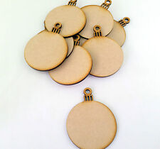 10xMDF Wooden Round Christmas Bauble Ball Shapes Craft Hanging Decoration Blanks