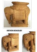 Vtg Brown Wicker Large Elephant Accent Art Deco Table/Plant Stand Mid Centery