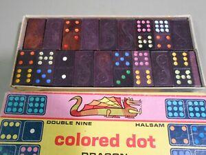 Double Nine Halsam Colored Dot DRAGON Dominoes 920-C Vintage