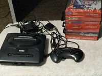 Sega Genesis Console + 7 Games LOT : MK 2, NBA Jam, Garfield, Asterix, Taz, +