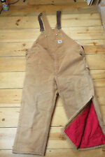 Carhartt Men's Work Bibs Double Knee Insulated Overalls 48x28 Brown Heavy Duty