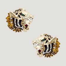 Butler and Wilson Crystal Tiger Heads Stud Earrings Gold Tone New