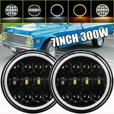 "DOT 7""in 200W LED Headlight Halo Angel Eyes DRL for Chevrolet Camaro 1967-1981"
