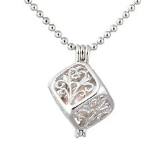 Freshwater Cultured Pearl Oyste Cage Cube Locket Pearl Necklace Pendant