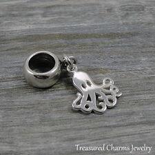 925 Sterling Silver Octopus Dangle Charm - Large Hole Bead fit European Bracelet