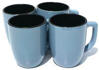 Corelle Hearthstone Stoneware Mugs Bluetopia Set of 4 Slate Blue & Black