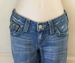 TRUE RELIGION BILLY WOMENS STRAIGHT JEANS 26 x 32 Yellow Stitching Rare #220