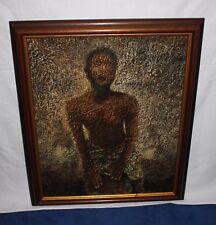 Gemälde Afrikanischer Trommler, Farbauftrag reliefartig, Farbtropfen, graphisch