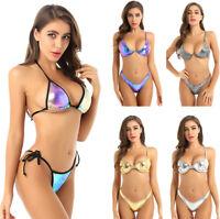 2Pcs Women Shiny Metallic Swimwear Bikini Set Swimsuit Underwire Bra Top & Brief