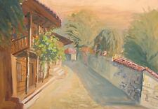 Vintage gouache painting country house cityscape