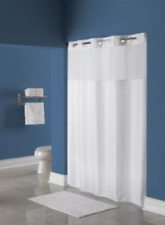 Hookless Shower Curtain White Litchfield Pattern Polyester Fabric & Voile Window