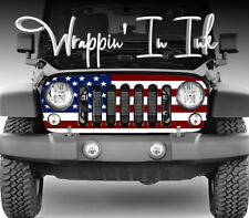 6149fda0 Jeep Grill Wrap American Flag Red White Blue for Jeep Wrangler 2007- 2018
