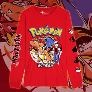 POKEMON Red Version Long Sleeve Shirt Charizard Gameboy Color Blue Nintendo Tee