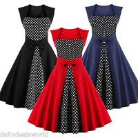 Womens Elegant Polka Dot Vintage Retro 50s 60s Rockabilly Flared Swing Tea Dress