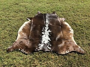 Cowhide Rugs Tricolor Brown Hair on Cow Hide Skin Leather Area Rug 5.25 x 5 ft