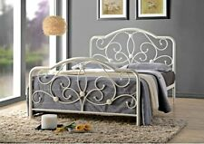 Victorian Style Metal Bed Frame White Double Size French Bed Vintage Shabby Chic
