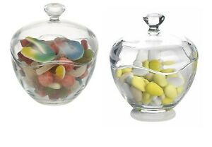 Pack Of 2 Large Cut Glass Candy Jars Candy Box Bowl Storage Nuts Sweet Sugar New