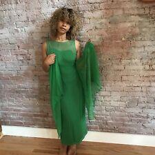 Vinatge 50's Green Goddess Dress Gown Chiffon Sleveless Beading Pleated Wings 2