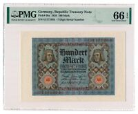 GERMANY banknote 100 Mark 1920 PMG MS-66 EPQ Gem Uncirculated