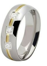 MENS 18K GOLD PLATED TITANIUM STAINLESS STEEL CRYSTAL WEDDING BAND RING S, W