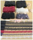 LOT~12Y Assorted Beautiful Venise Lace Trim~Black/White/Red/Navy Blue~Group 02~