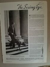 1937 Metropolitan Life Insurance seeing eye dog trained Morristown New Jersey ad
