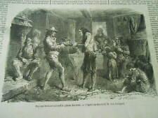 Gravure 1855 - Paysans Bretons cassant le gâteau des Rois