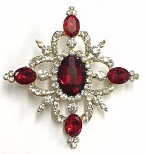 Beautiful Vintage Designed Ruby and Diamante Brooch UK