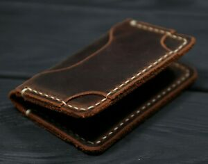 Card Holder Leather cognac, Slim Minimalist Wallet, Handmade pocket card case