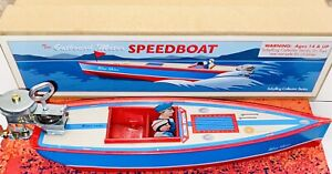 Schylling Wind-Up Tin Outboard Motor Speedboat In Original Box