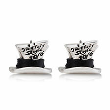 Disney Couture White Gold-Plated Alice in Wonderland Mad Hatter Stud Earrings