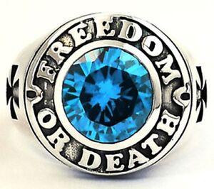 "BLUE TOPAZ CROSS CHOPPER STERLING 925 SILVER BIKER RING  ""FREEDOM OR DEATH"""