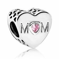 Genuine Pandora Sterling Silver Pink Heart Mum Charm Bead 791881PCZ