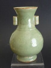 Yuan Dynasty Long Quan Yao Carved Double Ears Vase 元代龍泉窯刻花雙耳瓶