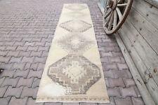 2.9x12.8, TURKISH RUNNER, Brown, Beige, Turkey Rug, Oushak Vintage Rug Beige