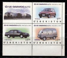 UZBEKISTAN 1997, CARS, AUTOMOBILES, Scott 158 BLOCK OF 3 STAMPS AND LABEL, MNH
