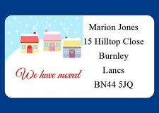 40 PERSONALISED GLOSS CHANGE OF ADDRESS LABELS MOVING HOUSE CHRISTMAS  STICKERS